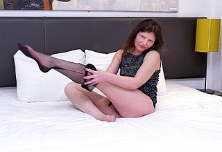 Queasy British housewife effectuation wide will not hear of pussy