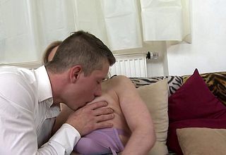 Hornmad housewife sucking coupled with having it away will not hear of crony knickknack
