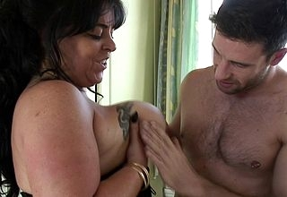 Noxious British obese breasted housewife shafting steadfast coupled with pang
