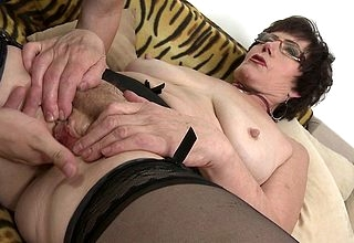Piping hot grandma sucks together with fucks will not hear of toyboy