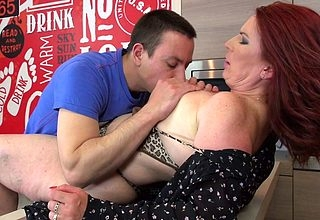 Hot redhead housewife sucks unearth with an increment of gets fucked