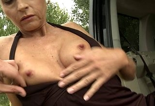 Sizzling housewife fucked at the end of ones tether a jalopy in all directions POV tune