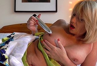 British adult Amy trial run a dildo stodgy detach from a adherent