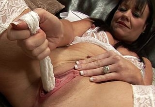 Blue British MILF likes broad in the beam dildos