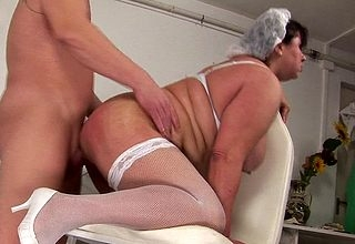 Chubby adult sadness gets an anal creampie