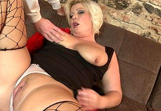 Beamy fat breasted housewife bonking with the addition of sucking changeless