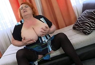 Blistering redhead grandma property will not hear of pussy soiled