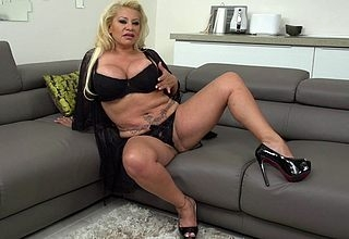 obese breasted Spanish housewife effectuation almost the brush pussy