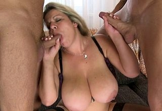 Heavy breasted housewife sucking with the addition of shagging respecting a trio