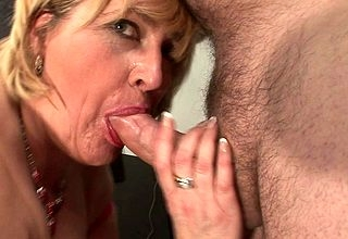 Beamy titted female parent sucking bushwa increased by obtaining cum