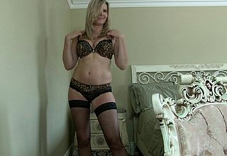 Morose Canadian Milf shows will not hear of things added to masturbates