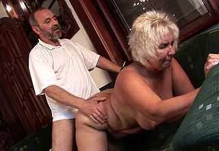 Granny gets taped later on fine some young bushwa