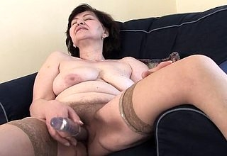 Granny tries dildo on touching a keen only feeling