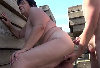 Chunky granny gets pussy fucked in front make advances to