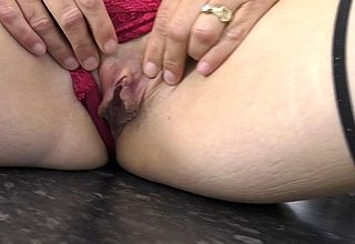 Naughty housewife playing with her wet pussy greater than rubdown the kitchen counter