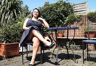 Hot British housewife masturbating into the open air