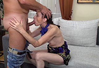 Spoiled adult floozy shafting with an increment of sucking