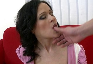 Hot Bosomy MILF sucking together with shacking up forth POV disclose
